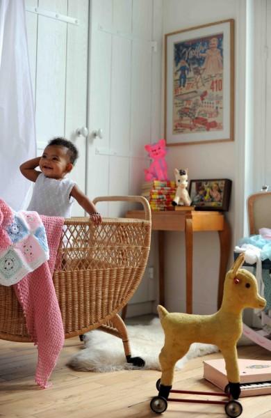 habitación infantil de mimbre
